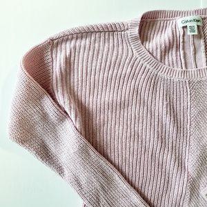 CALVIN KLEIN waffle knit blush pink sweater